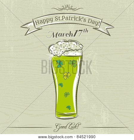 Card For St. Patrick's Day With Green Beer Mug With Clovers