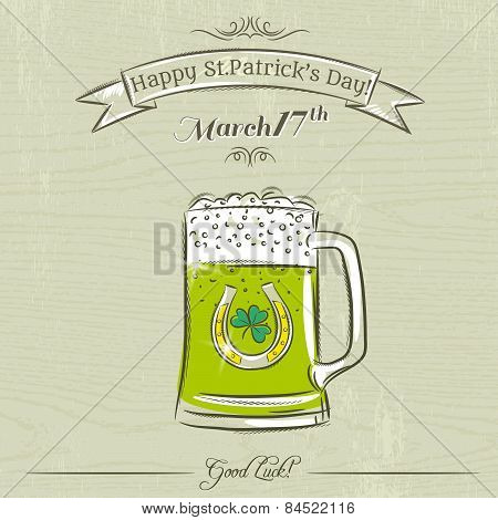 Card For St. Patrick's Day With Green Beer Mug