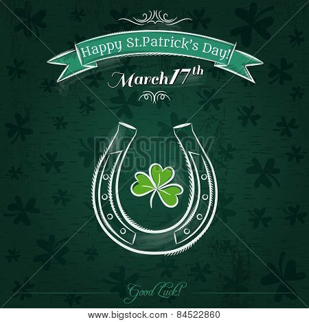 Green Card For St. Patrick's Day With Horseshoe And Shamrock