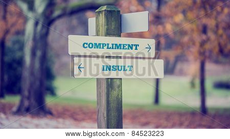 Words Compliment And Insult In A Conceptual Image
