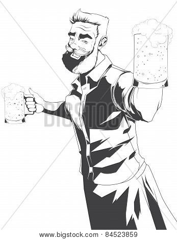Vector Silhouette Of Barman