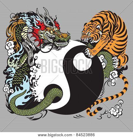 yin yang symbol with tiger and dragon