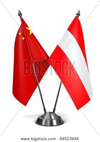 China and Austria - Miniature Flags.