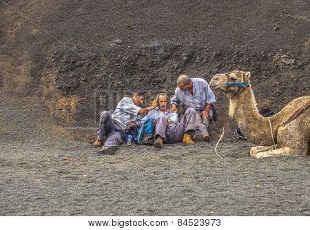 Camel Riders Wait For Tourists