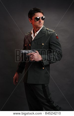 military general with gun