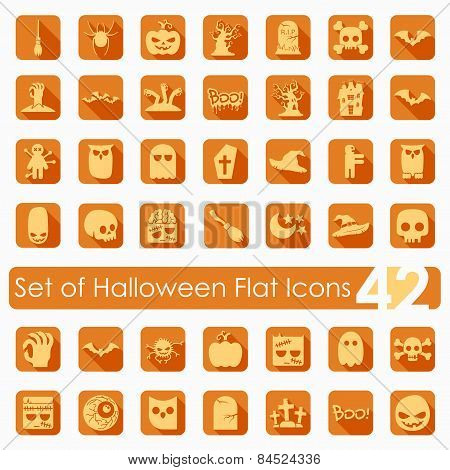 Set of halloween flat icons