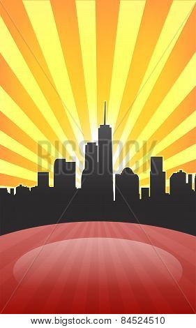 Modern Cityscape On Retro Sunburst Pattern With Stage And Spot On It
