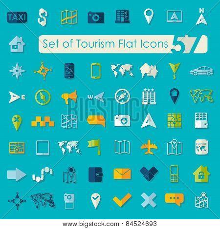 Set of tourism flat icons