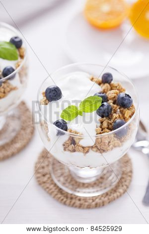 Delicious Dessert With Fruits And Flakes
