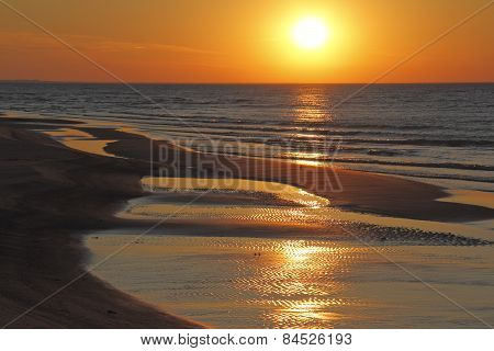 Ripples On Beach At Sunset