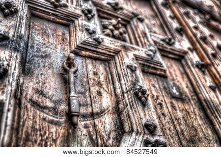 Metal Door Knocker On A Heavy Relief Door