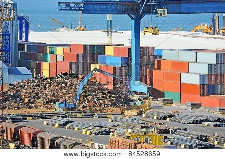 Scrap metal, container and pipe in port