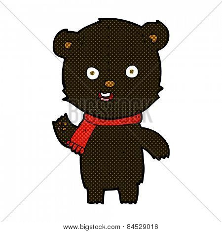 retro comic book style cartoon waving black bear cub with scarf