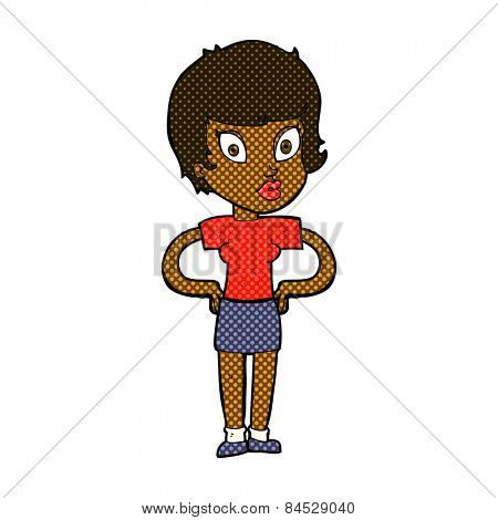 retro comic book style cartoon woman with hands on hips
