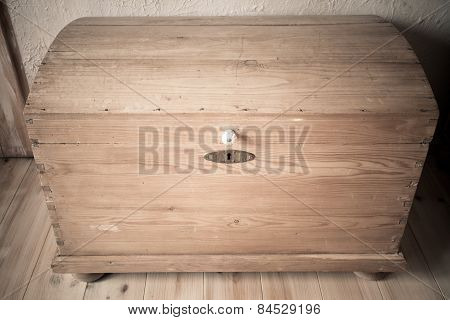 Old Wooden Chest Like Treasure Box In The Attic