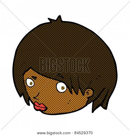 retro comic book style cartoon female face with raised eyebrow