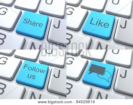 E-Communication Concept - Blue Button on Keyboard.