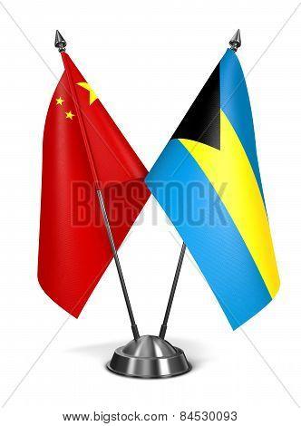 China and Bahamas - Miniature Flags.
