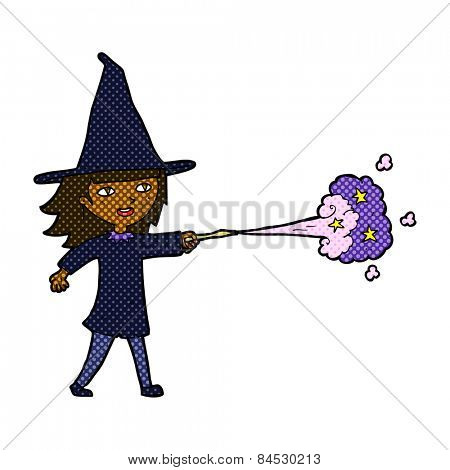 retro comic book style cartoon witch girl casting spell