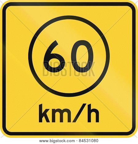 Advised Speed 60 Kmh