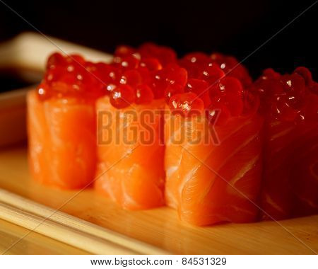 rolls with salmon and red caviar