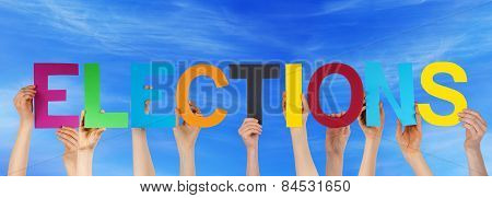 Many People Hands Holding Colorful Straight Word Elections Blue Sky