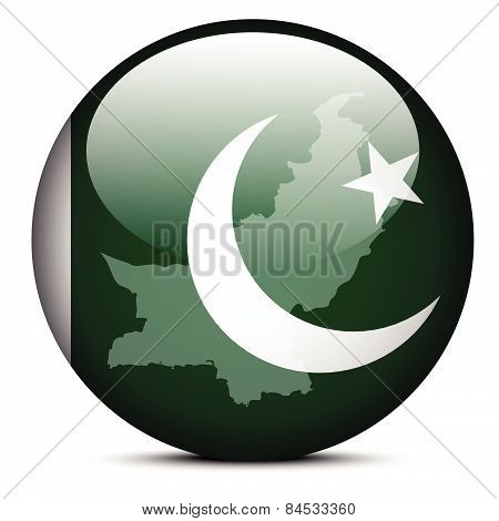 Map On Flag Button Of Islamic Republic Pakistan