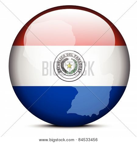 Map On Flag Button Of Republic Of Paraguay