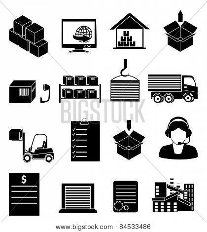 warehouse logistics icons set