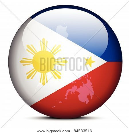 Map On Flag Button Of Republic  The Philippines