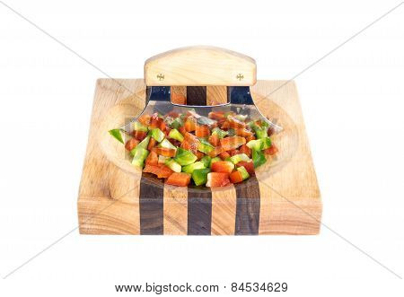 Ulu Knife Chopped Red and Green Bell Peppers