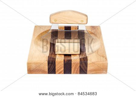 Alaskan Ulu Knife Resting on a Chopping Block