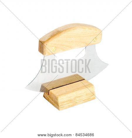 Alaskan Ulu Knife Resting on a Stand