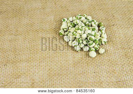 Wasabi Peas On Burlap