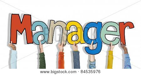 Manager Leader Head Hands Hold White Background Concept