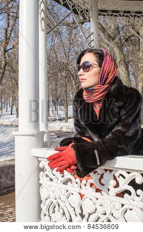Women In Furcoat And Gloves In Winter