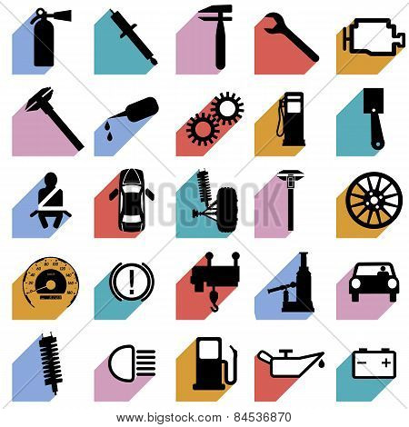 Collection Flat Icons With Long Shadow. Car Symbols. Vector Illu