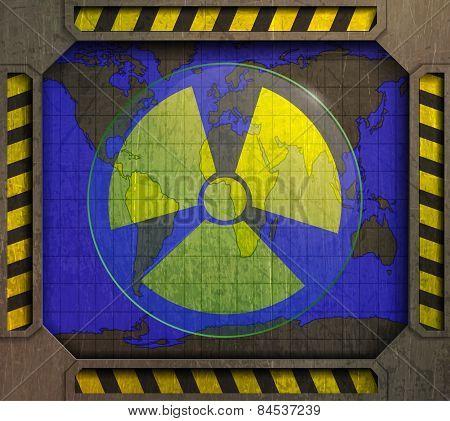 frame, radiation sign, world map