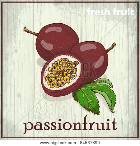 Hand Drawing Illustration Of Passionfruit. Fresh Fruit Sketch Background