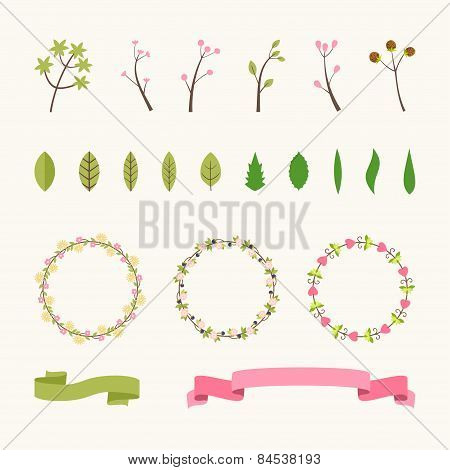 Set Of Floral Design Elements. Vector Collection With Leafs And Flowers For Greeting Flyers And Bann