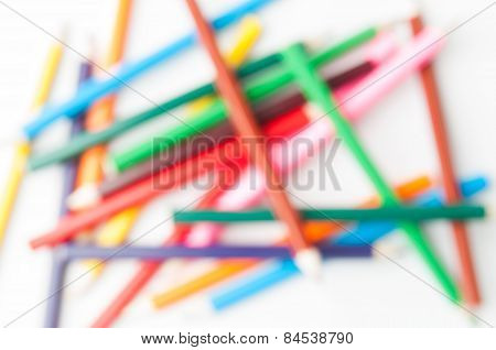 Colored pencils are out of focus.