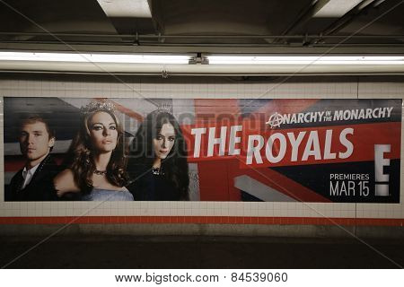The Royals TV series billboard in New York's subway