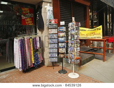 New York City souvenirs on display in Little Italy