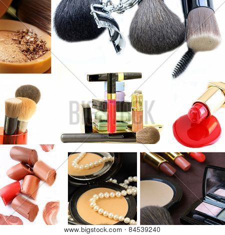 collage collection decorative cosmetics and makeup brushes