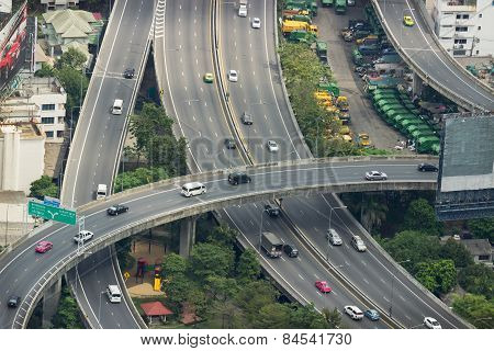 Aerial View On Highway Overpass In Bangkok, Thailand