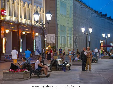 People Resting On Nikolskaya Street