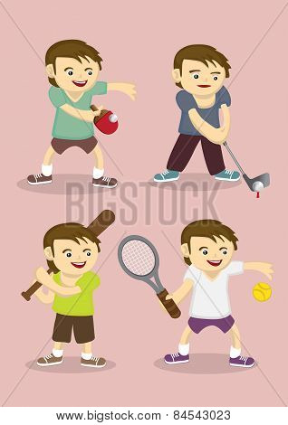 Sporty Boy Learning Sports Vector Cartoon Illustration