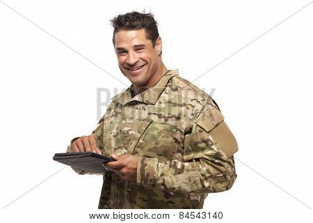 Happy Soldier With Digital Tablet