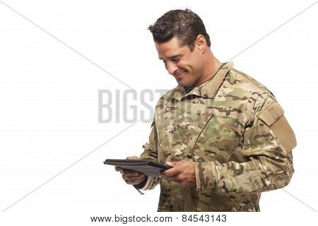 Smiling Soldier With Digital Tablet