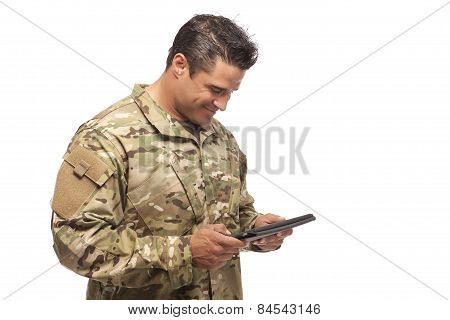 Happy Army Soldier Reading Digital Tablet